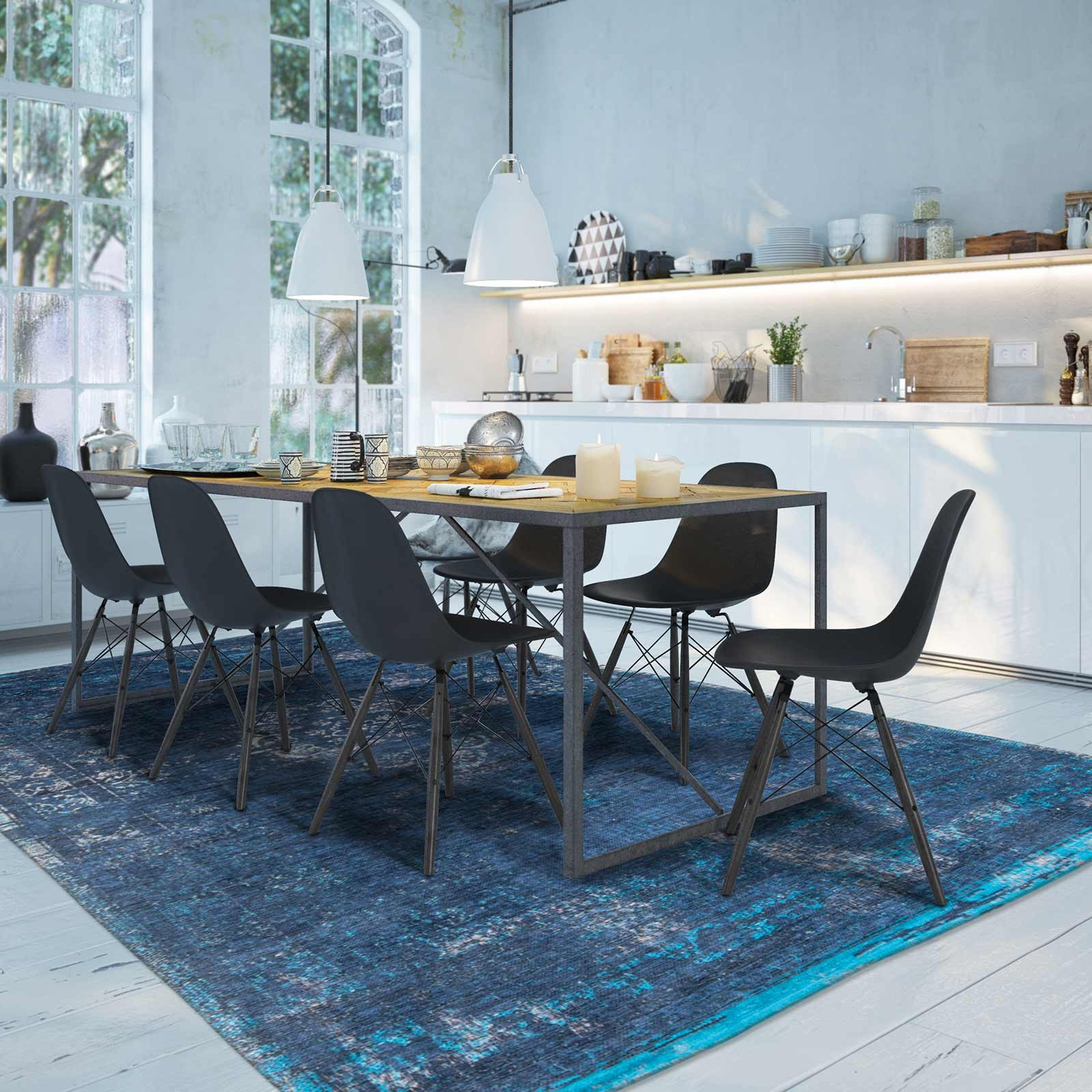 tapis Louis De Poortere LX8254 Fading World Medaillon Blue Night interior
